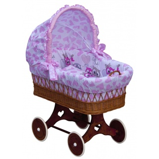 Proutěný košík na miminko s boudičkou Scarlett Kulíšek - růžová