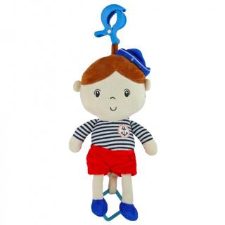 Edukační hrající plyšová panenka Baby Mix námořník kluk Červená