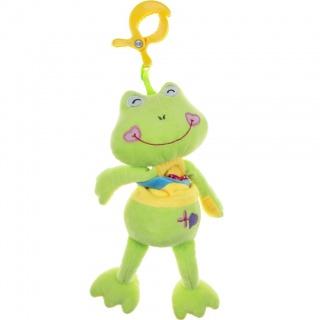 Plyšová hračka s hracím strojkem Akuku žabka Zelená