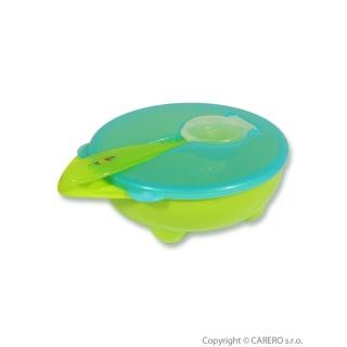Miska a lžička Akuku zelená Zelená