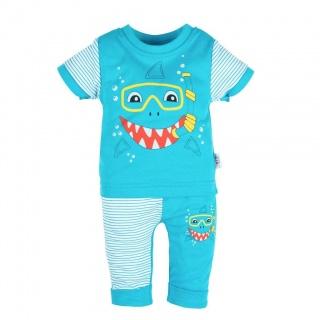 Kojenecké tričko s krátkým rukávem a tepláčky New Baby Shark Tyrkysová 68 (4-6m)