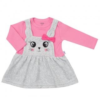 Kojenecké semiškové šatičky New Baby For Babies růžové Růžová 62 (3-6m)