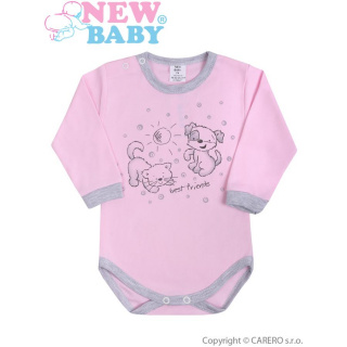 Kojenecké body s dlouhým rukávem New Baby Kamarádi růžové Růžová 74 (6-9m)
