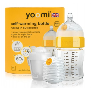 Yoomi 8oz kojenecká láhev, ohřívač, savička a nádoba na ohřívač
