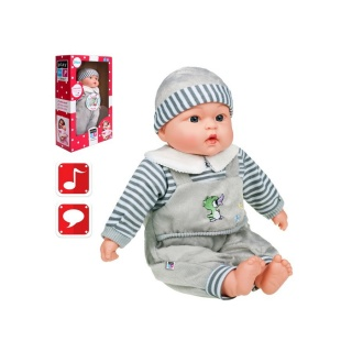 Polsky mluvící a zpívající dětská panenka PlayTo Agnieszka 46 cm Šedá