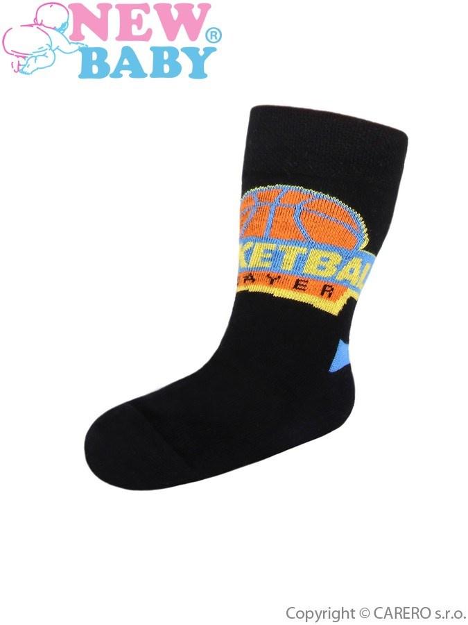 Dětské bavlněné ponožky New Baby černé basketball Černá 116 (5-6 let ... 59e272974b