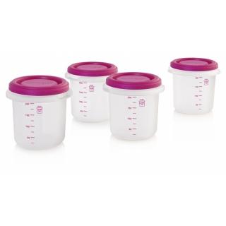 Miniland Kelímky na jídlo s víčkem Pink 4ks