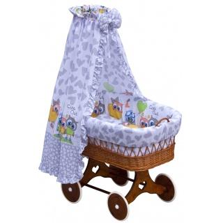 Proutěný košík na miminko s nebesy Scarlett Kulíšek - šedá