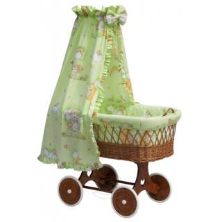 Proutěný koš na miminko s nebesy Mráček - zelená