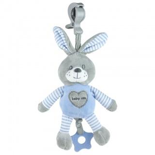 Edukační hrající plyšová hračka s klipem Baby Mix králík modrý Modrá