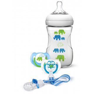 AVENT Sada Natural 260 ml (PP) Slon chlapec