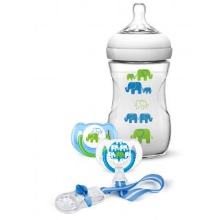AVENT Sada Natural 260 ml (PP) Slon chlapec