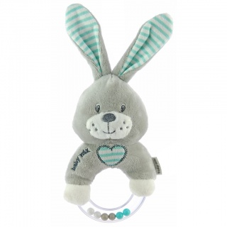 Dětské plyšové chrastítko Baby Mix králík mátový Zelená