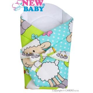 Zavinovačka s kokosovou výztuží a mašlí New Baby tyrkysová s ovečkou Tyrkysová