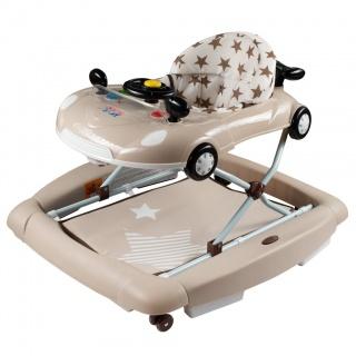 Dětské chodítko s houpačkou a silikonovými kolečky New Baby Little Racing Car Béžová