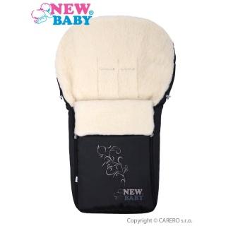 Luxusní fusák s ovčím rounem New Baby černý Černá