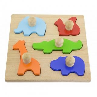Dřevěné vkládací puzzle razítka Viga Zvířata Multicolor