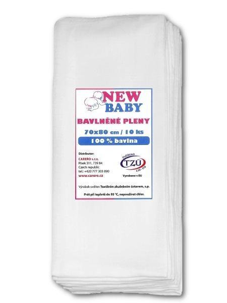 Bavlněné pleny NEW BABY 70x80 cm STANDARD Bílá 1 ks