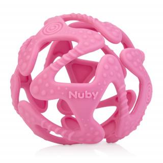 Kousátko silikonová míč růžová 3m+