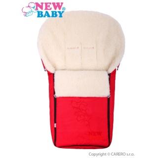 Luxusní fusák s ovčím rounem New Baby červený Červená