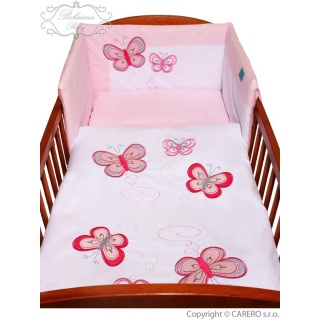 5-dílné ložní povlečení Belisima Motýlek 100/135 růžové Růžová