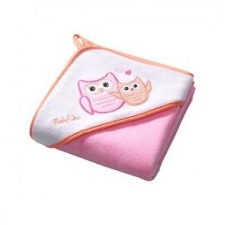 Baby Ono Osuška s kapucí Velour100x100 - pink