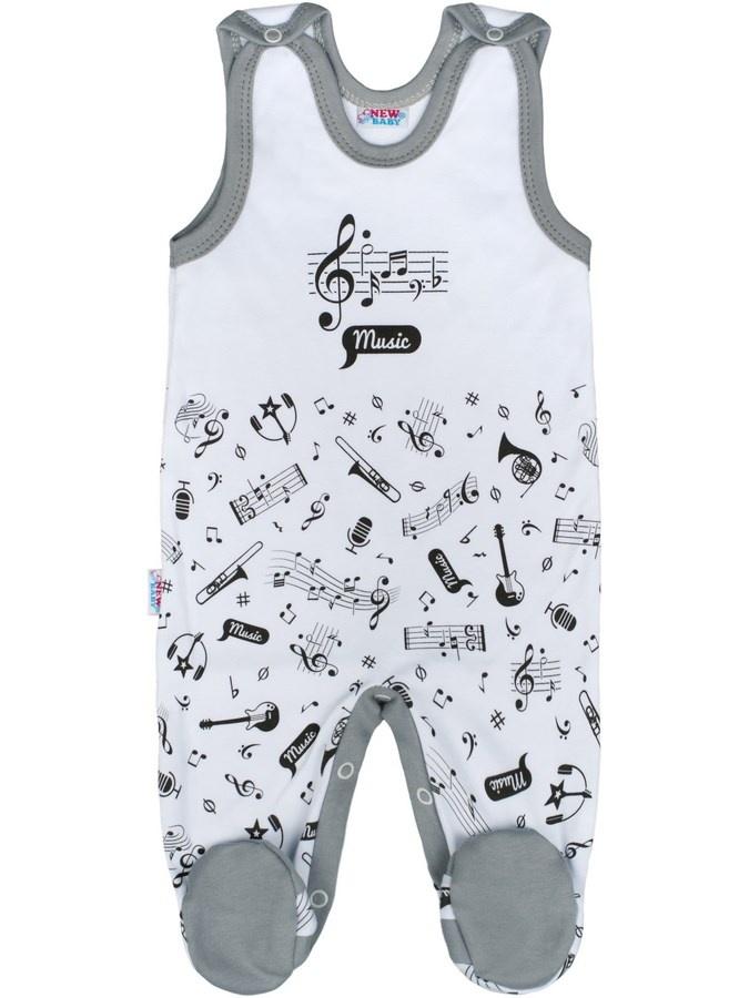 Kojenecké bavlněné dupačky New Baby Music Bílá 56 (0-3m)