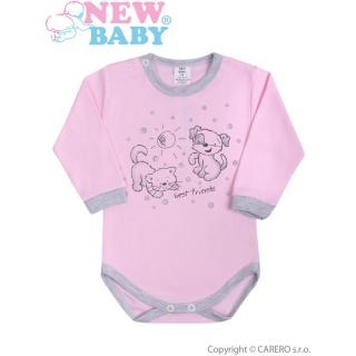 Kojenecké body s dlouhým rukávem New Baby Kamarádi růžové Růžová 80 (9-12m)