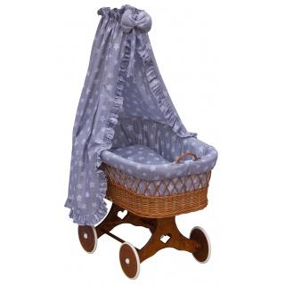 Proutěný košík na miminko s nebesy Scarlett Hvězdička - šedá