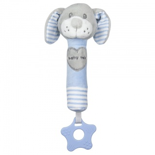 Dětská pískací plyšová hračka s kousátkem Baby Mix pes modrý Modrá