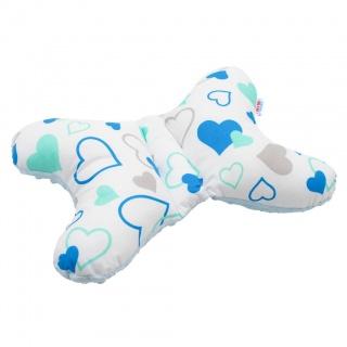 Stabilizační polštářek New Baby modrá srdíčka Modrá
