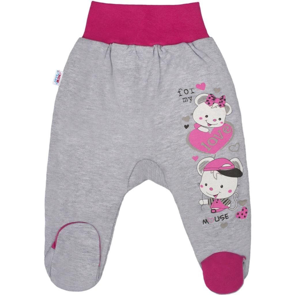 Dětské polodupačky New Baby Love Mouse Růžová 62 (3-6m)
