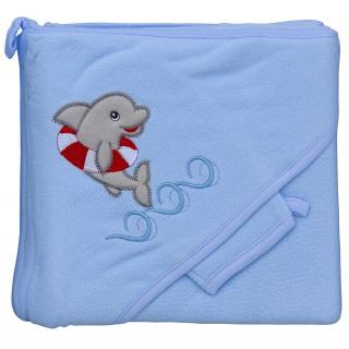 Froté ručník - Scarlett delfín s kapucí - modrá
