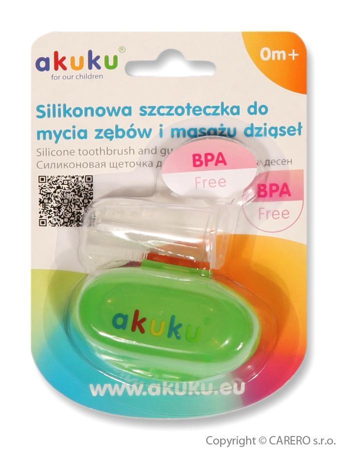 První zubní kartáček s pouzdrem Akuku zelený Zelená