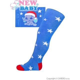 Vánoční bavlněné punčocháčky New Baby modré se slonem Modrá 68 (4-6m)