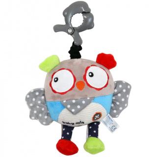 Dětská plyšová hračka s hracím strojkem Baby Mix Sova Šedá