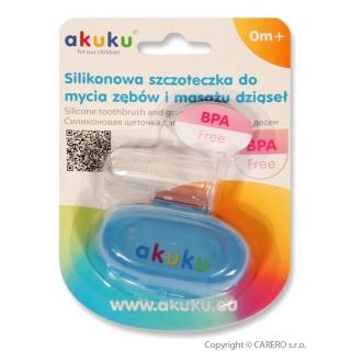 První zubní kartáček s pouzdrem Akuku modrý Modrá