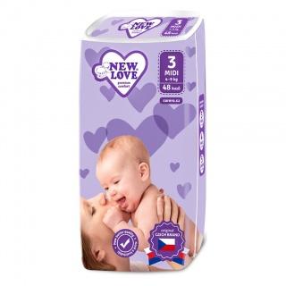 Dětské jednorázové pleny New Love Premium comfort 3 MIDI 4-9 kg 48 ks Bílá