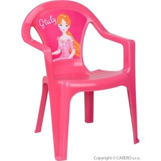 Dětský zahradní nábytek - Plastová židle růžová Giuly Růžová