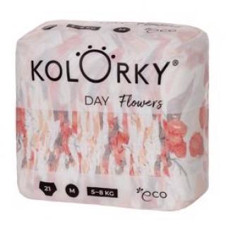 KOLORKY DAY - květy - M (5-8 kg) - 21 ks - jednorázové eko plenky