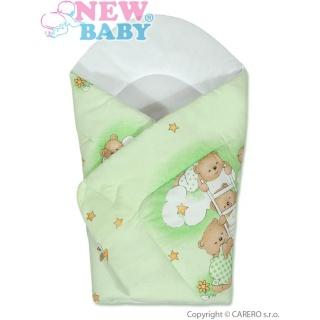 Dětská zavinovačka New Baby zelená s medvídkem Zelená