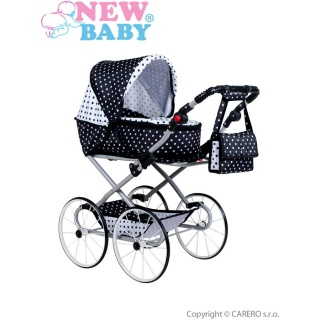 Dětský Retro kočárek pro panenky 2v1 New Baby Natálka bílo-černý Dle obrázku