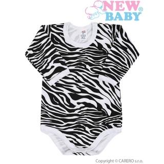 Kojenecké body s dlouhým rukávem celopotištěné New Baby Zebra Bílá 80 (9-12m)