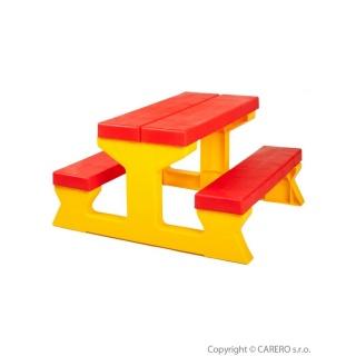 Dětský zahradní nábytek - Stůl a lavičky červeno-žlutý Červená