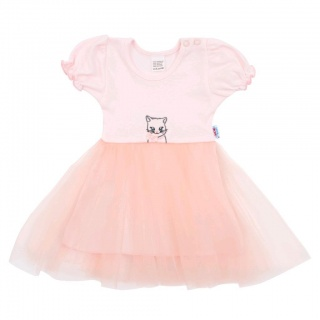Kojenecké šatičky s tylovou sukýnkou New Baby Wonderful růžové Růžová 80 (9-12m)