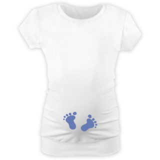 Babytrička Těhotenské TRIČKO mini rukáv kulatý výstřih bílé s  výšivkou NOHY modrá