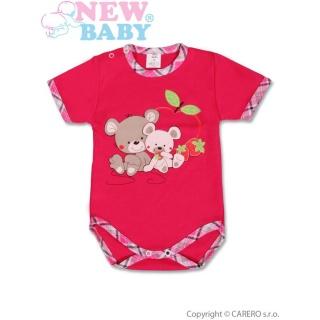 Dětské body s krátkým rukávem New Baby Myšky s jahůdkou Růžová 80 (9-12m)