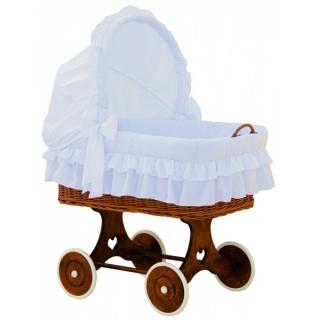 Proutěný koš na miminko s boudičkou Martin - bílá