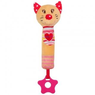 Dětská pískací plyšová hračka s kousátkem Baby Mix kočka Červená
