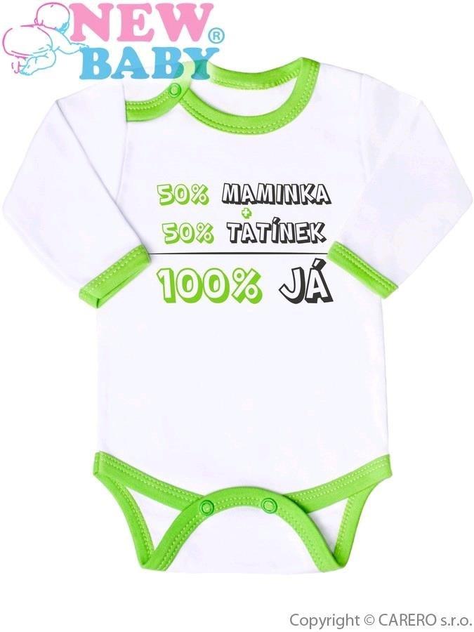 Body s potiskem New Baby 50% MAMINKA + 50% TATÍNEK - 100% JÁ zelené ... c4dc5586ee